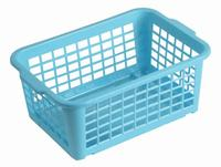 Košík stohovateľný, plast, modrý