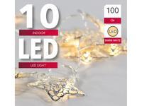 Reťaz 10 LED svetiel, strieborné hviezdy