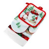 Kuchynský vianočný set - utierka, chňapka, rukavica