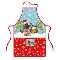 Zástera kuchynská, dekor vianočná sova, polyester