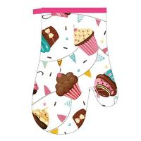 Kuchynská chňapka rukavica, dekor koláčikov