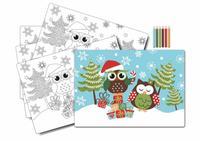 """Prestieranie """"vianočná sova"""", omaľovánka s pastelkami, 5 ks"""