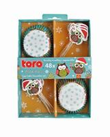 Papierové košíčky na muffiny + napichovadlá 24ks TORO vianočná sova