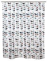 Sprchový záves, polyester, 180 x 180 cm, motív listy