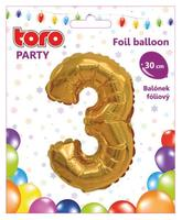 """Balónik číslica """"3"""", 30 cm, assort"""