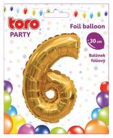 """Balónik číslica """"6"""", 30 cm, assort"""