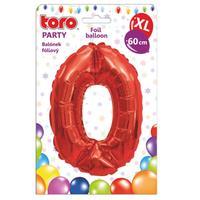 """Balónik XL, číslica """"0"""", 60 cm, matne červený"""