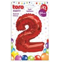 """Balónik XL, číslica """"2"""", 60 cm, matne červený"""