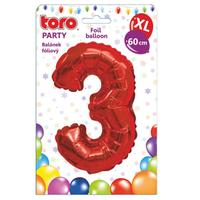 """Balónik XL, číslica """"3"""", 60 cm, matne červený"""