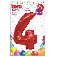 """Balónik XL, číslica """"4"""", 60 cm, matne červený"""