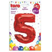 """Balónik XL, číslica """"5"""", 60 cm, matne červený"""