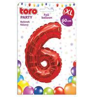 """Balónik XL, číslica """"6"""", 60 cm, matne červený"""
