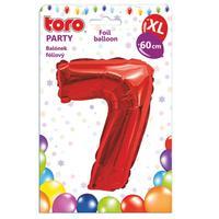 """Balónik XL, číslica """"7"""", 60 cm, matne červený"""