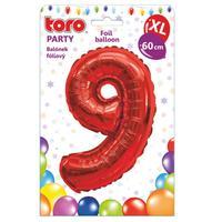 """Balónik XL, číslica """"9"""", 60 cm, matne červený"""