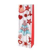 Papierová vianočná taška na vino TORO 36x12,5x8,5cm assort