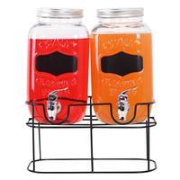 Sklenený pohár s kohútikom TORO + kovový stojan 2x3,5l