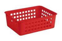Košík stohovateľný, plast, červený
