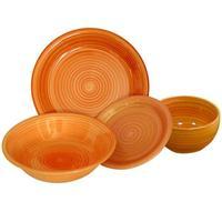 Tanier dezertný s prúžkami, keramika, 19 cm, oranžový