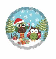"Podložka pod hrniec, dekor ""vianočná sova"", keramika, kruh"