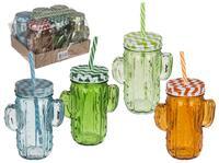 Sklenený pohár s viečkom a slamkou kaktus 350ml