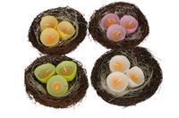 Dekorácie vtáčie hniezdo + 3 sviečky, ASSORT