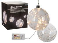 Guľa 10 LED sklenená, priemer 12 cm, závesná