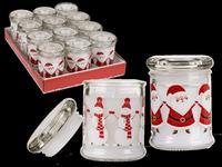 Sviečka v skle s viečkom, vianočný motív, assort