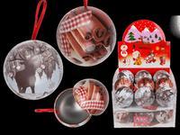 Guľa vianočná, závesná, plech, assort