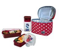 """Taška bodkovaná """"Lunch boxes"""", červená, sada 3 ks"""