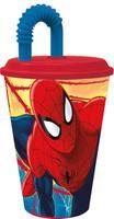 Plastový téglik so slamkou Spiderman 430ml