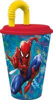 Plastový téglik so slámkou Spiderman 430ml