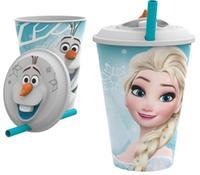Plastový téglik so slamkou 3D Ľadové kráľovstvo 415ml