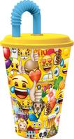 Plastový téglik so slamkou Emoji 430ml