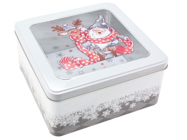 Dóza na vianočné pečivo 18x18x8,6cm Santa