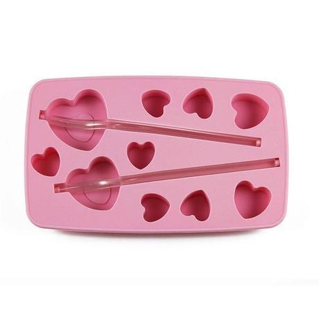 TORO Forma silikónová na ľad so slamkou, srdce, ružová