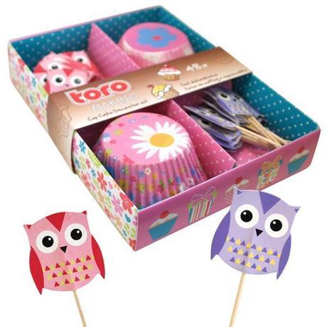 TORO Formičky na muffiny 24 ks + napichovadlá 24 ks, dekor sova