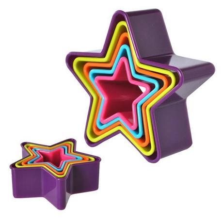 TORO Plastové vykajovače na cukrovinky, 5 ks, hviezdy