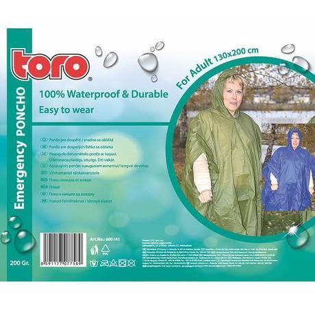 TORO Poncho pláštenka pre dospelých, veľkosť 130 x 200 cm