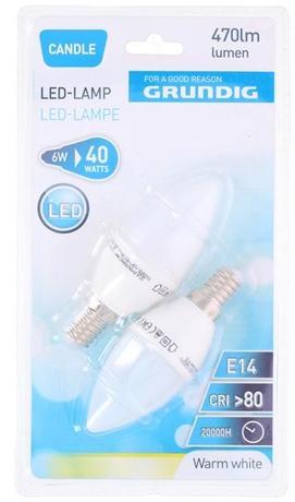 Žiarovka LED sviečka 2KS 470LMN 6W E14 4000K